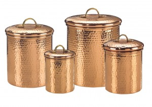 Old Dutch International Solid Copper Hammered Canisters, Set of 4